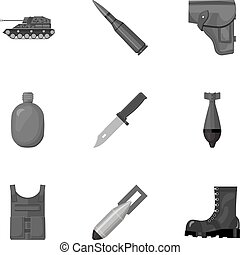 Military and army set icons in monochrome style. Big...