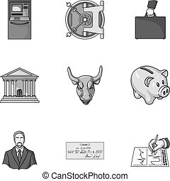 Money and finance set icons in monochrome style. Big collection of money and finance vector symbol stock illustration