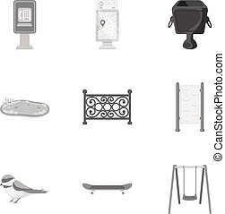 Park set icons in monochrome style. Big collection of park...