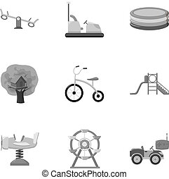 Play garden set icons in monochrome style. Big collection of...
