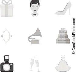 sarchiatura,  set, Icone, grande, Simbolo, collezione, vettore, illustrazione, matrimonio, monocromatico, stile, casato