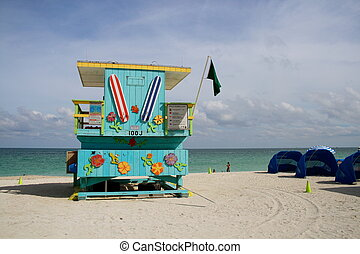 South Beach - Colorful lifeguard station in South Beach