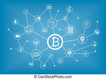 Bitcoin and blockchain vector illustration background