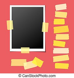 Realistic Photo Frame with Collection of Sticky Tape Pieces