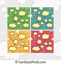 Marker Speech Bubbles Seamless Pattern Set