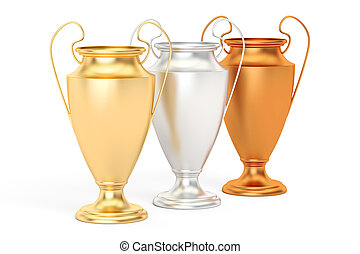 Golden, silver and bronze trophy cups, 3D rendering