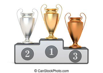 Golden, silver and bronze trophy cups on pedestal, 3D rendering