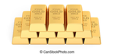 set of Gold bars, 3D rendering isolated on white background