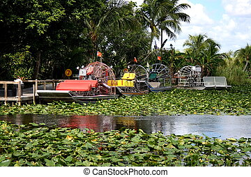 Airboats on the Everglades - Airboat docked on the...