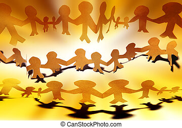 United - Paper-chain people holding hands