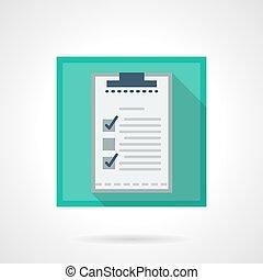 Checklist flat square vector icon