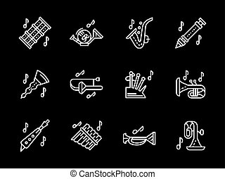 Woodwind music tune white simple line vector icons - Brass...