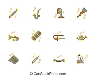 Stylish flat design wind instruments vector icons -...