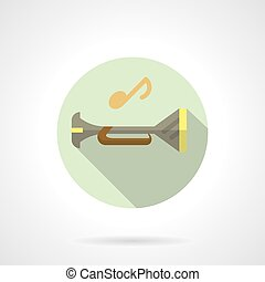 Music tube flat round vector icon - Musical tube symbol with...