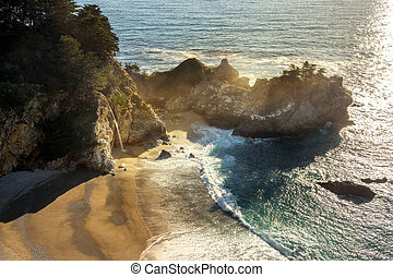 McWay Falls in Big Sur. Pacific ocean - Late afternoon...