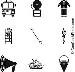Fire department set icons in black style. Big collection of fire department vector symbol stock illustration