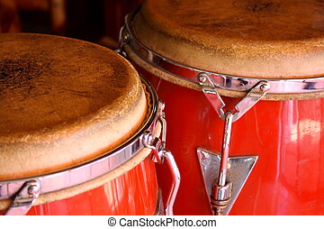 Red conga drums - Closeup of a set of caribbean style conga...