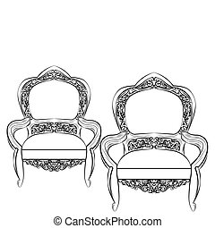 Exquisite Fabulous Imperial Baroque chair. Vector French...