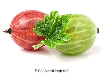 red and green gooseberries with leaves on a white background