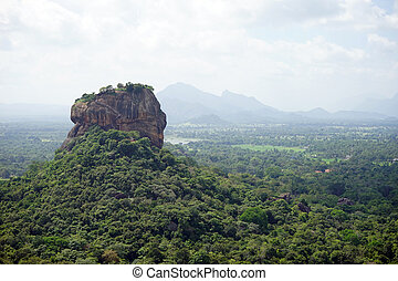Sigiriya Rock and forest in Sri Lanka