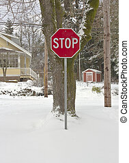 Stop sign and whiteout landscape. - Stop sign and a whiteout...
