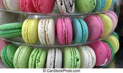 Macaron Pyramid Closeup - Pyramid of colorful assorted...