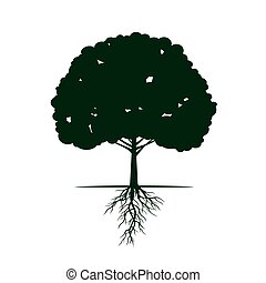 Tree with Roots. Vector Illustration.