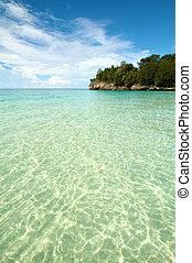 Paradise white sand blue water tropical island beach