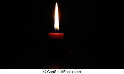Candle burning down - time lapse - A single candle burning...