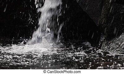 Waterfall detail slow motion - Waterfall slow motion from...