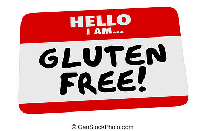 Gluten Free Hello Name Tag Sticker Special Dietary Needs 3d...