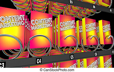 Content Marketing Vending Machine Products 3d Illustration