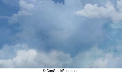 Thank You - cloud words on blue sky - THANK YOU written with...