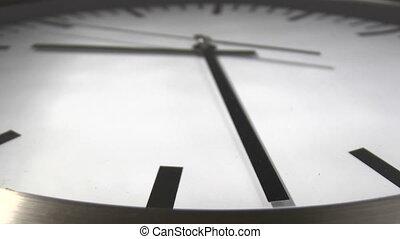 White clock time lapse - Clock time lapse. Close Up
