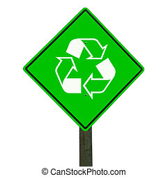 Recycle sign isolated, clipping path. - Recycle sign...