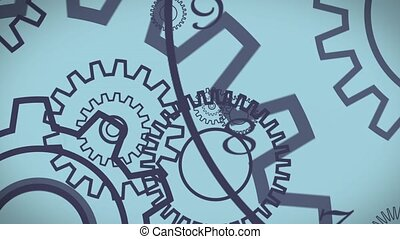 Gear wheels animation - Rotating gear wheels. HD Background