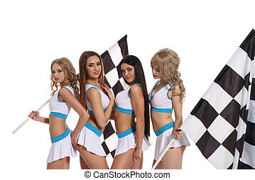 Models in skirts and tops with race flags - Image of four...