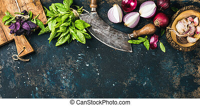 Healthy food cooking background over grunge dark blue...