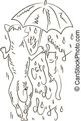 It's raining cats and dogs - Hand drawn inspirational and...