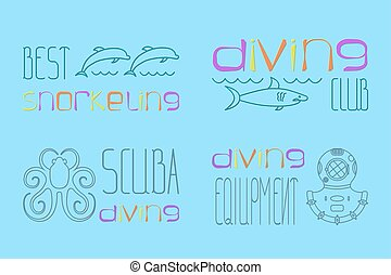 set of logo scuba diving