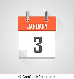 January 3, calendar date month icon with flat design
