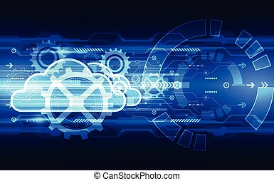 Abstract cloud technology background, vector illustration