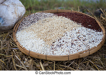 Thai rice varieties of brown rice, mixed wild rice, white...