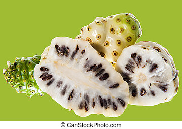 a morinda citrifolia - some Morinda citrifolia on a white...
