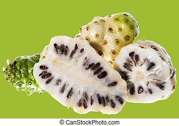 a morinda citrifolia - some Morinda citrifolia on a white...