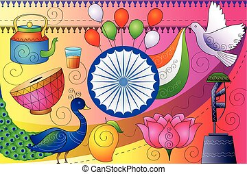 India patriotic background showing diverse Culture and Art -...