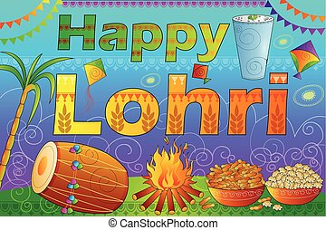 Happy Lohri Punjab festival celebration background - vector...