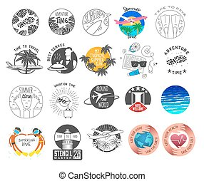 summer and tourism theme logos set