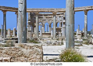 Libya,archaeological site of Leptis Magna,the market