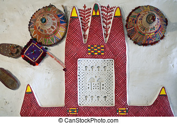 Libya,Ghadames,decoration of a Berber house in the old...